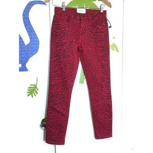 NEW Current Elliot Red Animal Print Skinny Jeans